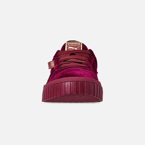 Front view of Women's Puma Cali Velvet Casual Shoes in Tibetan Red/Tibetan Red