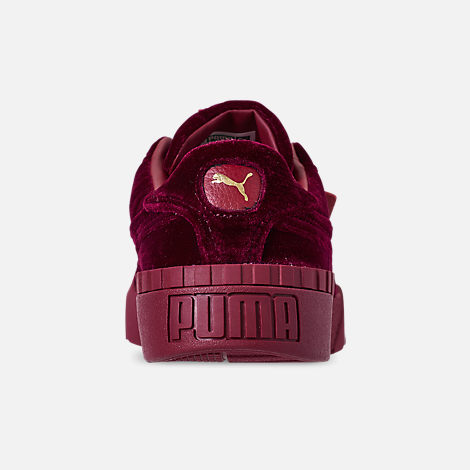 Back view of Women's Puma Cali Velvet Casual Shoes in Tibetan Red/Tibetan Red