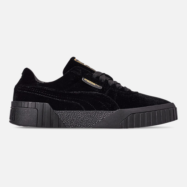 Right view of Women s Puma Cali Velvet Casual Shoes in Puma Black Puma Black 8c6944b4ce