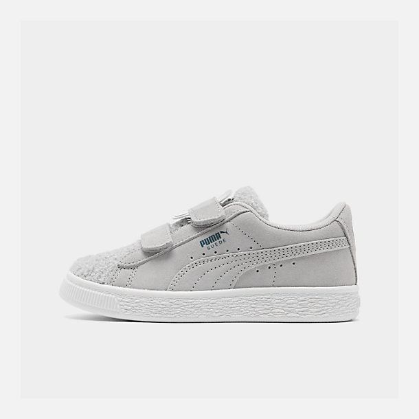 Right view of Girls' Little Kids' Puma Suede Winter Monster Hook-and-Loop Casual Shoes in Grey