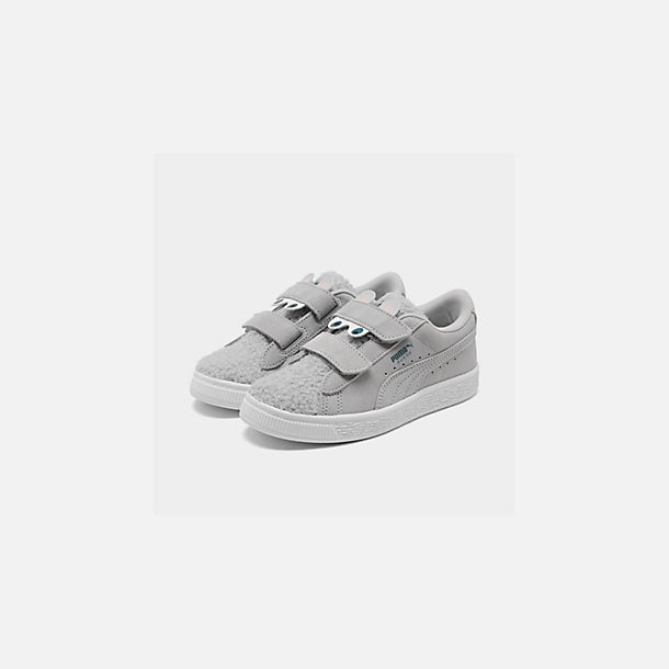 Three Quarter view of Girls' Little Kids' Puma Suede Winter Monster Hook-and-Loop Casual Shoes in Grey