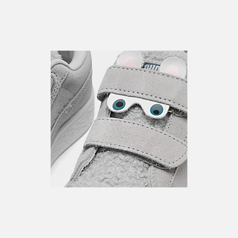 Front view of Girls' Little Kids' Puma Suede Winter Monster Hook-and-Loop Casual Shoes in Grey