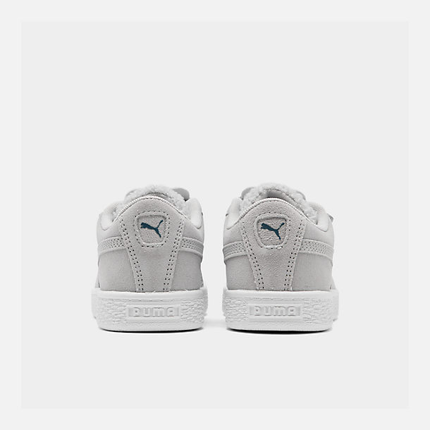 Left view of Girls' Little Kids' Puma Suede Winter Monster Hook-and-Loop Casual Shoes in Grey