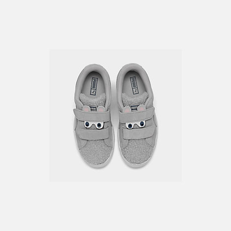 Back view of Girls' Little Kids' Puma Suede Winter Monster Hook-and-Loop Casual Shoes in Grey