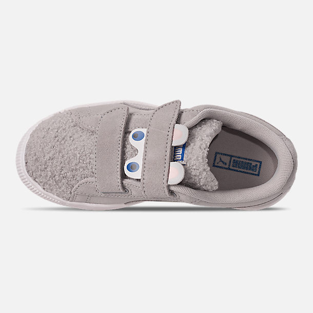 Top view of Girls' Little Kids' Puma Suede Winter Monster Hook-and-Loop Casual Shoes in Grey