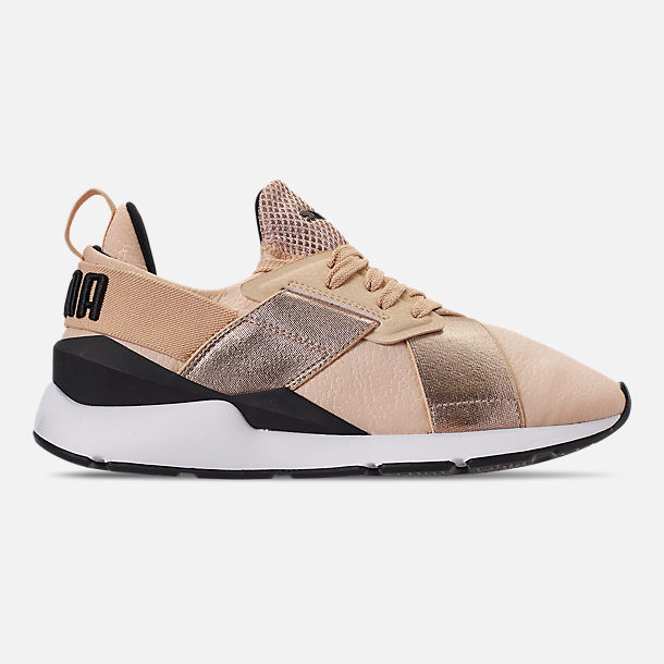 Right view of Women's Puma Muse Metallic Casual Shoes in Natural Vachetta/Puma Black