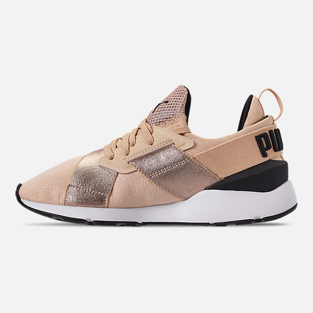 Left view of Women's Puma Muse Metallic Casual Shoes in Natural Vachetta/Puma Black