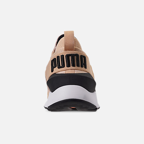 Back view of Women's Puma Muse Metallic Casual Shoes in Natural Vachetta/Puma Black