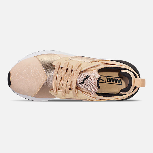 Top view of Women's Puma Muse Metallic Casual Shoes in Natural Vachetta/Puma Black