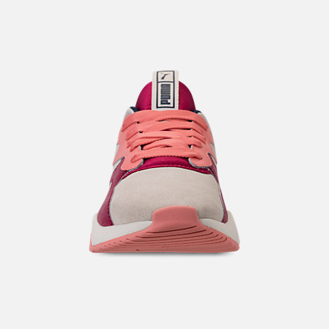 Front view of Women's Puma Nova Suede Casual Shoes in Whisper White/Cerise
