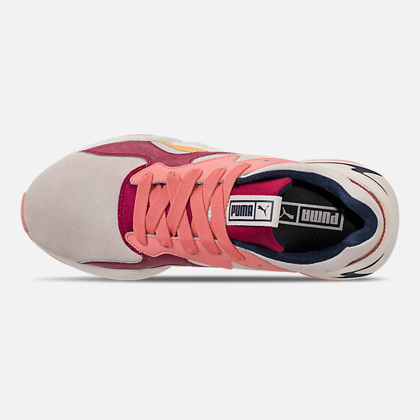 Top view of Women's Puma Nova Suede Casual Shoes in Whisper White/Cerise