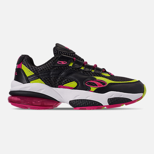 Right view of Men's Puma Cell Venom Running Shoes in Puma Black/Lime Punch