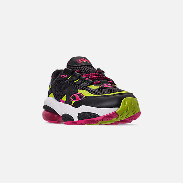 Three Quarter view of Men's Puma Cell Venom Running Shoes in Puma Black/Lime Punch