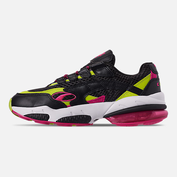 Left view of Men's Puma Cell Venom Running Shoes in Puma Black/Lime Punch