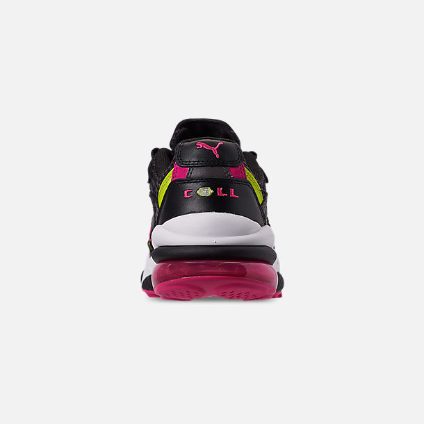 Back view of Men's Puma Cell Venom Running Shoes in Puma Black/Lime Punch