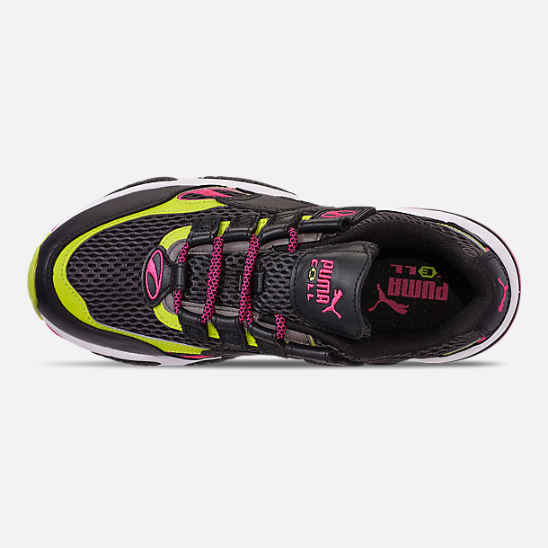 Top view of Men's Puma Cell Venom Running Shoes in Puma Black/Lime Punch