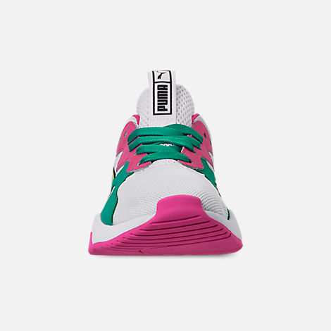 Front view of Women's Puma Nova Casual Shoes in White/Pink/Teal