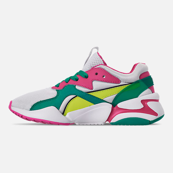 Left view of Women's Puma Nova Casual Shoes in White/Pink/Teal