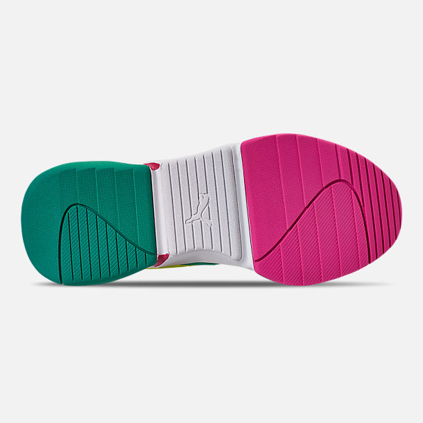 Bottom view of Women's Puma Nova Casual Shoes in White/Pink/Teal