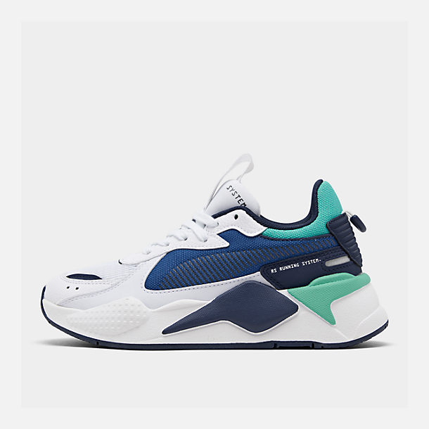 Right view of Boys' Big Kids' Puma RS-X Hard Drive Casual Shoes in White/Galaxy Blue