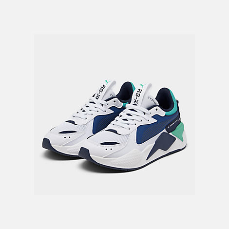 Three Quarter view of Boys' Big Kids' Puma RS-X Hard Drive Casual Shoes in White/Galaxy Blue