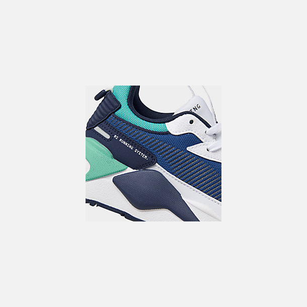 Front view of Boys' Big Kids' Puma RS-X Hard Drive Casual Shoes in White/Galaxy Blue