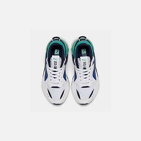 Back view of Boys' Big Kids' Puma RS-X Hard Drive Casual Shoes in White/Galaxy Blue
