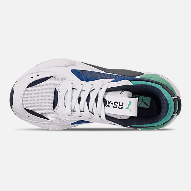 Top view of Boys' Big Kids' Puma RS-X Hard Drive Casual Shoes in White/Galaxy Blue