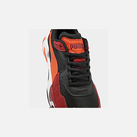 Front view of Boys' Big Kids' Puma Storm Ray Casual Shoes in Rhubarb/Puma Black