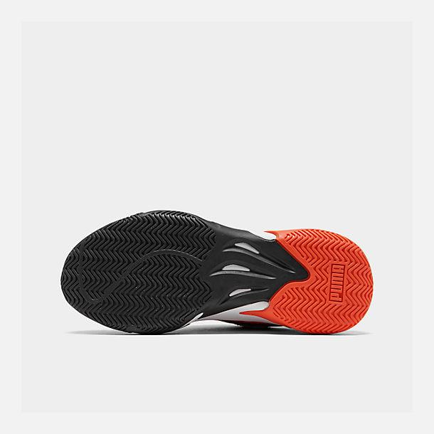 Bottom view of Boys' Big Kids' Puma Storm Ray Casual Shoes in Rhubarb/Puma Black