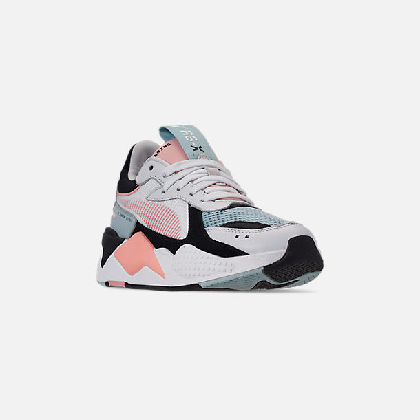 Three Quarter view of Women's Puma RS-X Reinvention Casual Shoes in Puma White/Peach Bud