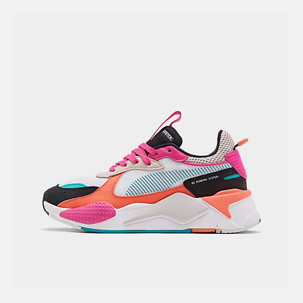 Right view of Women's Puma RS-X Reinvention Casual Shoes in Puma White/Black/Fuchsia Purple