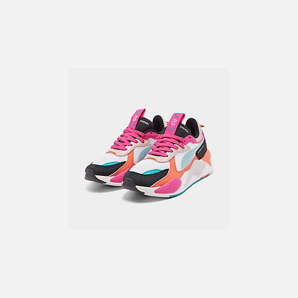 Three Quarter view of Women's Puma RS-X Reinvention Casual Shoes in Puma White/Black/Fuchsia Purple