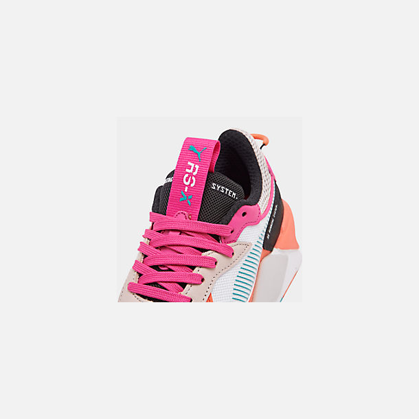Front view of Women's Puma RS-X Reinvention Casual Shoes in Puma White/Black/Fuchsia Purple