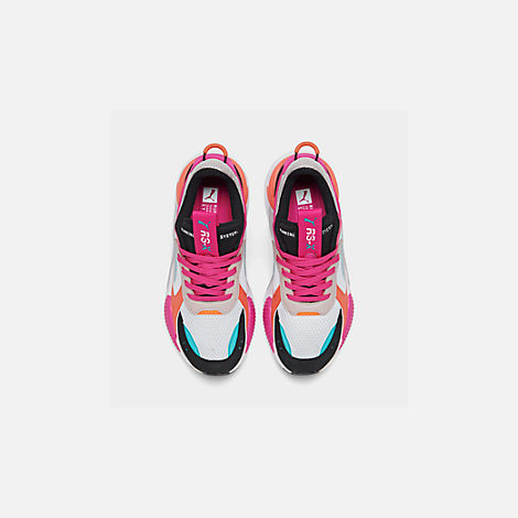Back view of Women's Puma RS-X Reinvention Casual Shoes in Puma White/Black/Fuchsia Purple