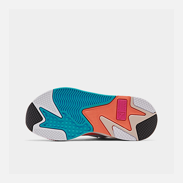Bottom view of Women's Puma RS-X Reinvention Casual Shoes in Puma White/Black/Fuchsia Purple