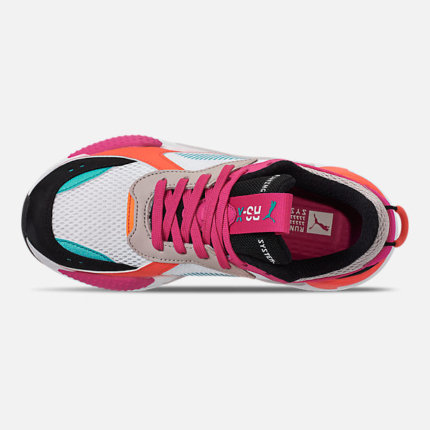 Top view of Women's Puma RS-X Reinvention Casual Shoes in Puma White/Black/Fuchsia Purple