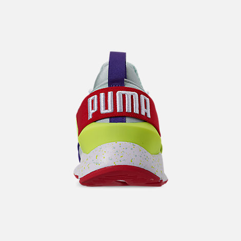 Back view of Girls' Big Kids' Puma Muse Speckle Casual Shoes in Multi Color Speckle