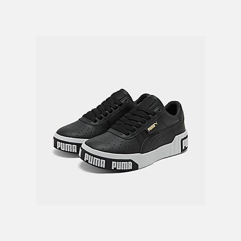 Three Quarter view of Women's Puma Cali Bold Casual Shoes in Puma Black/Metallic Gold