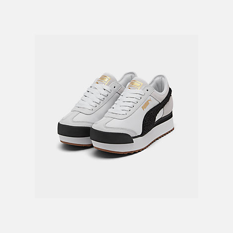 Three Quarter view of Women's Puma Roma Amor Heritage Casual Shoes in White/Black