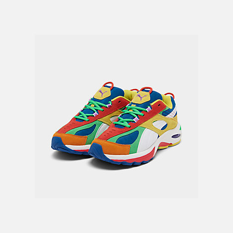 Three Quarter view of Men's Puma Cell Speed Multi Casual Shoes in Puma White/Blazing Yellow