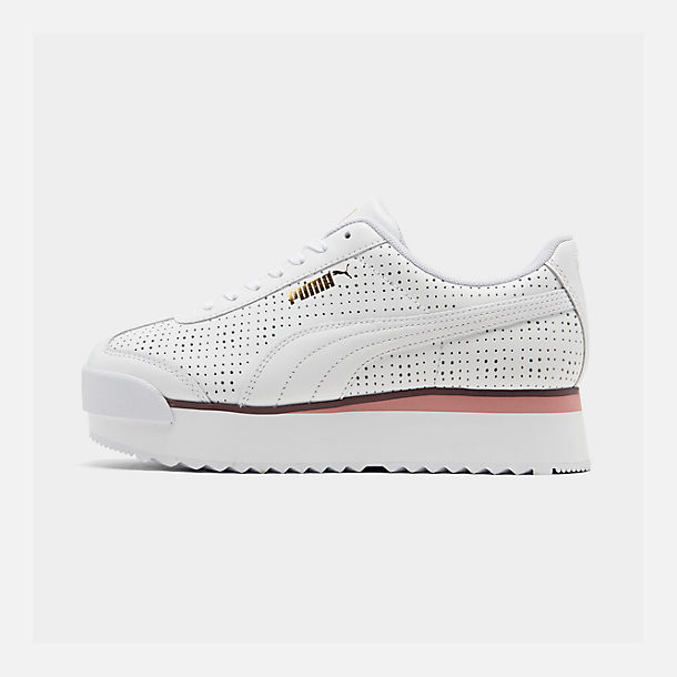 Right view of Women's Puma Roma Amor Perf Casual Shoes in Puma White/Burgundy/Rose