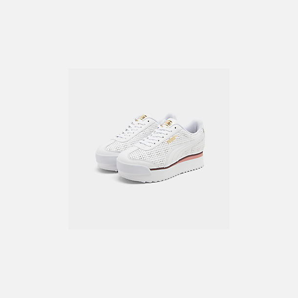 Three Quarter view of Women's Puma Roma Amor Perf Casual Shoes in Puma White/Burgundy/Rose