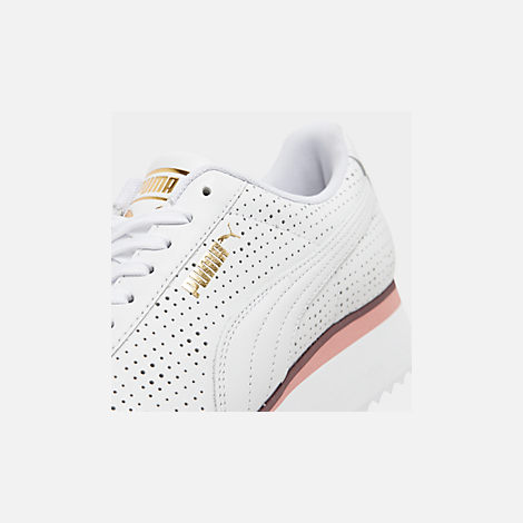 Front view of Women's Puma Roma Amor Perf Casual Shoes in Puma White/Burgundy/Rose