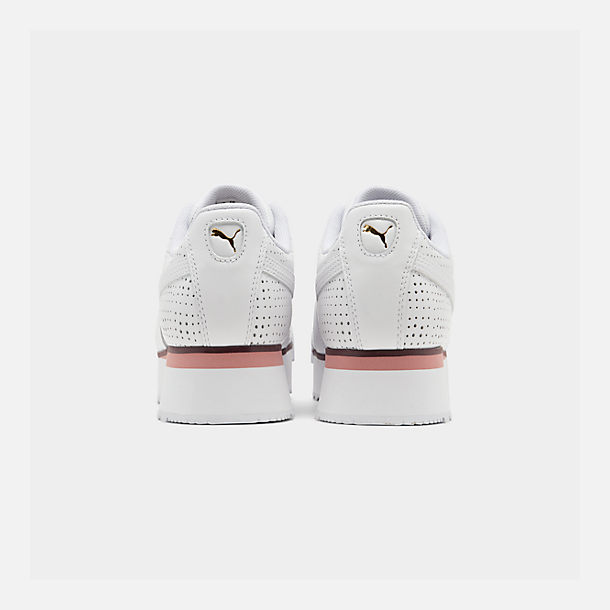 Left view of Women's Puma Roma Amor Perf Casual Shoes in Puma White/Burgundy/Rose