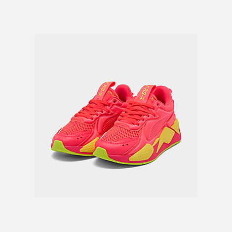 Three Quarter view of Women's Puma RS-X Softcase Casual Shoes in Pink Alert/Yellow Alert