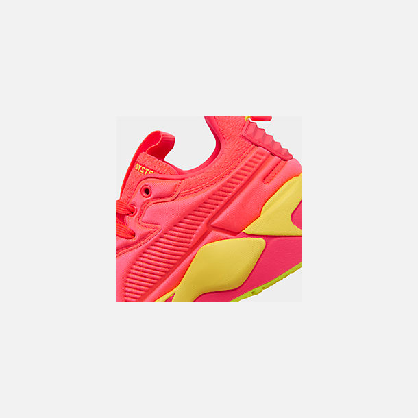 Front view of Women's Puma RS-X Softcase Casual Shoes in Pink Alert/Yellow Alert