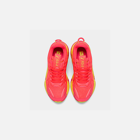 Back view of Women's Puma RS-X Softcase Casual Shoes in Pink Alert/Yellow Alert