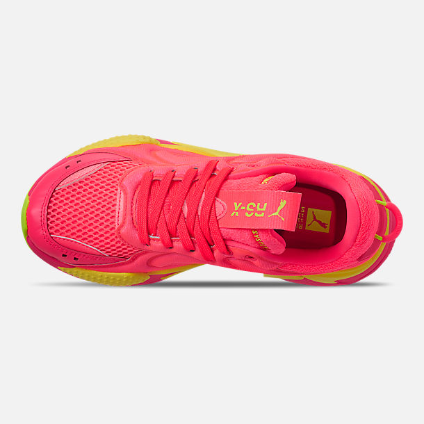 Top view of Women's Puma RS-X Softcase Casual Shoes in Pink Alert/Yellow Alert