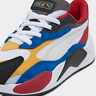 Front view of Boys' Little Kids' Puma RS-X Puzzle Casual Shoes in Puma White/Spectra Yellow